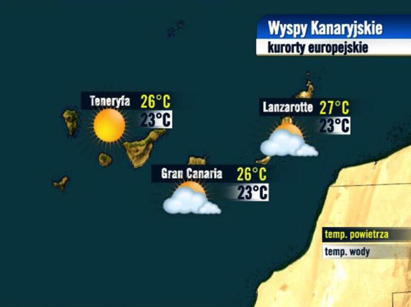 Prognoza pogody dla kurortów na Wyspach Kanaryjskich, 24.08
