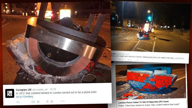 """Płonący tajemniczy """"spodek"""" na londyńskiej drodze. Policja nie wierzyła własnym oczom"""