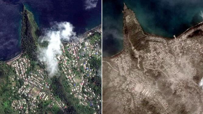 Karaibska wyspa przed i po wybuchu wulkanu. <br />Widać ją na zdjęciach satelitarnych
