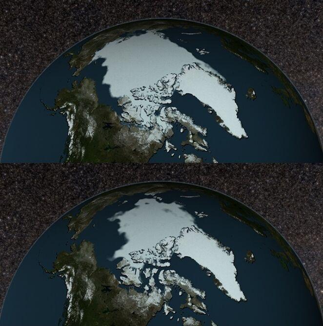 Zasięg arktycznego lodu we wrześniu 1979 (górne zdjęcie) i we wrześniu 2017 (dolne). Ilustracja: NASA