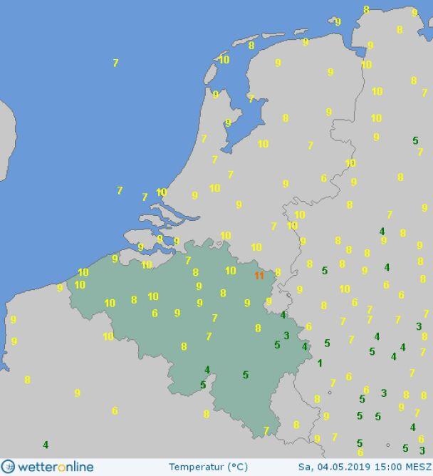 Temperatura w Belgii w sobotę o godzinie 15.00 (wetteronline.de)