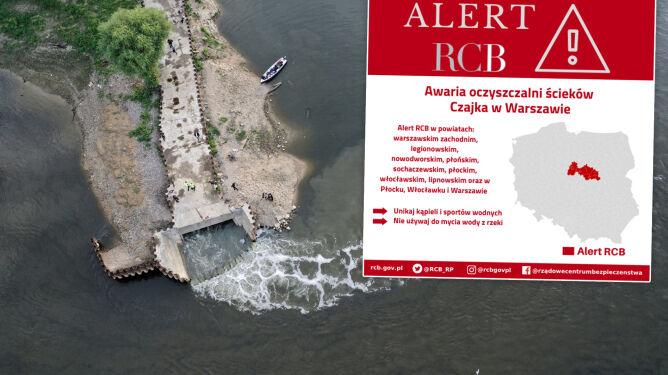Alert RCB po awarii Czajki. Ostrzeżenie przed korzystaniem z Wisły od Warszawy w stronę Gdańska