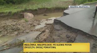 Zniszczona droga powiatowa w miejscowości Węglówka